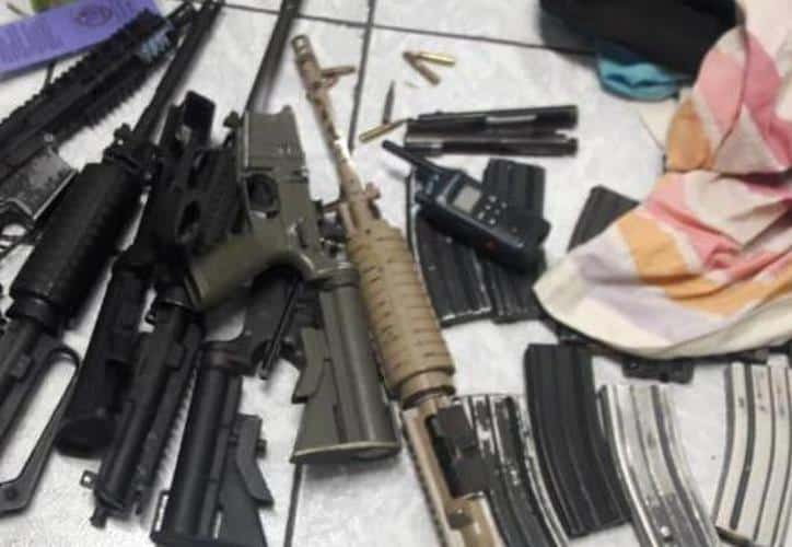 Aseguran armas tras enfrentamiento con presuntos sicarios en Cancún