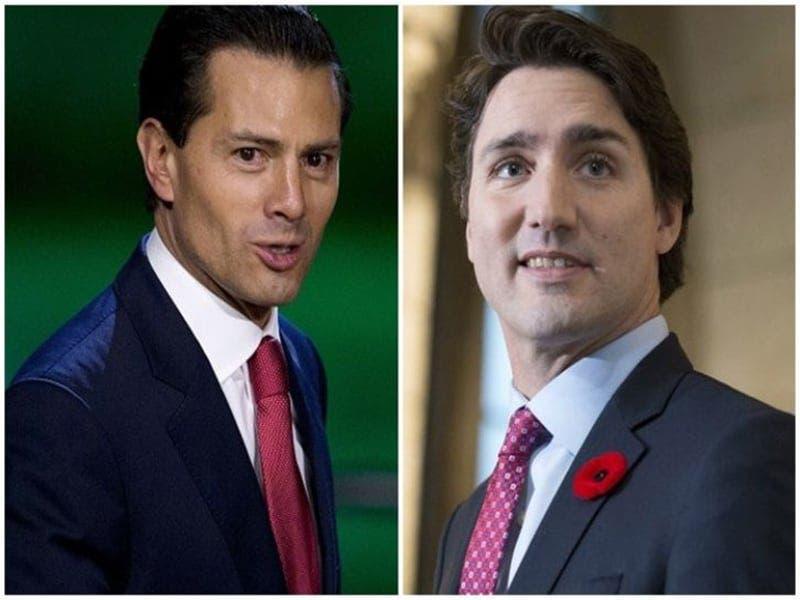 Enrique Peña Nieto y Justin Trudeau platican sobre el T-MEC