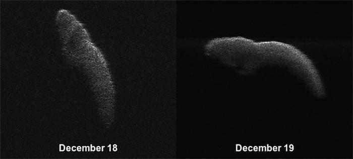 Estas dos imágenes de radar del asteroide 2003 SD220 cercano a la Tierra se obtuvieron el 18 y 19 de diciembre. Foto: NASA