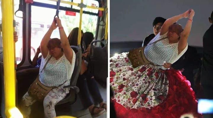 ¡Qué buen coyotito! Mujer se duerme en camión y le hacen memes