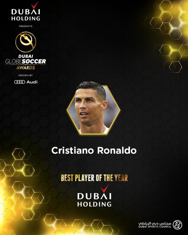 Cristiano Ronaldo gana el premio a Mejor Jugador del Año en Globe Soccer