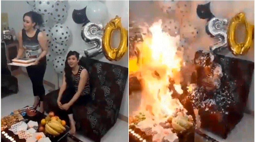 Vídeo: Cumpleañera se prende cuando le tiran espuma al pastel y se quema