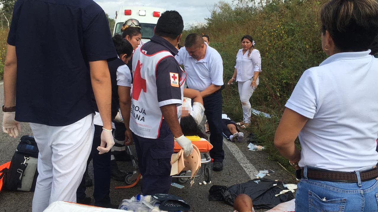 Accidente en la carretera rumbo a Tihousco deja 4 lesionados