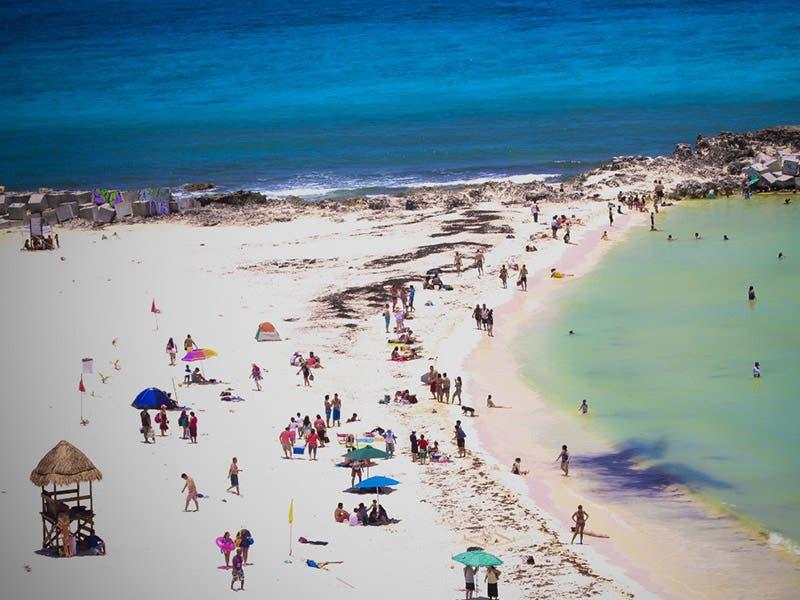 Arribo de Sargazo en Playa Forum de Cancún