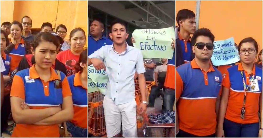 Protestan trabajadores de Soriana, Chedraui y Wal Mart en Matamoros
