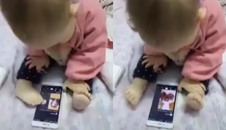 Vídeo: Bebé usa celular con el pie y causa polémica en redes sociales