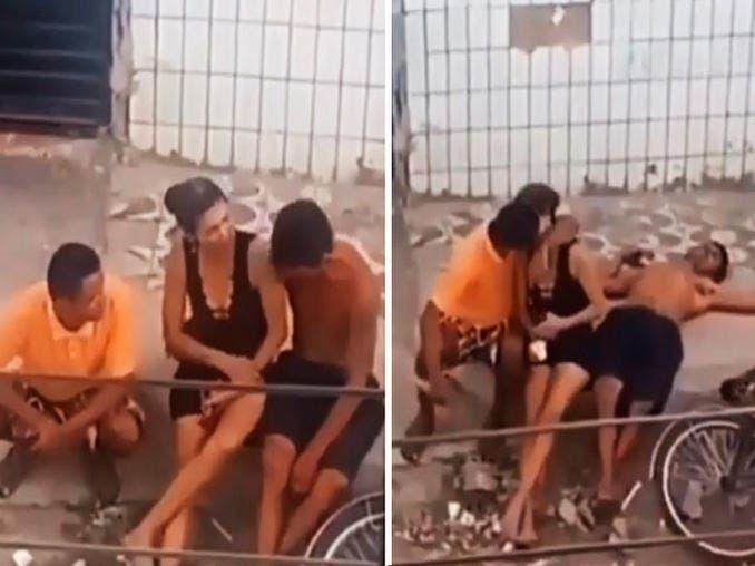 Vídeo: Cachan infidelidad de mujer al besarse con otro hombre mientras su novio borracho duerme en la banqueta