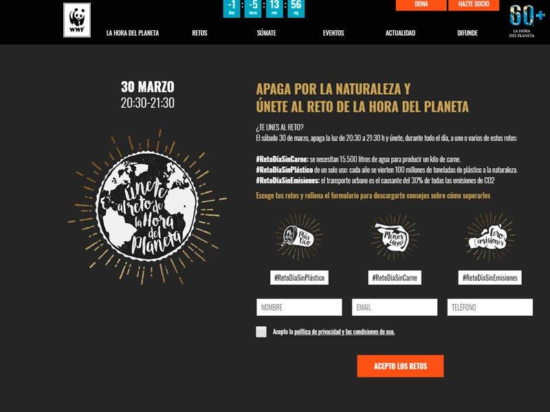 Página oficial de la World Wildlife Fund, quien promueve la ´Hora del Planeta´.