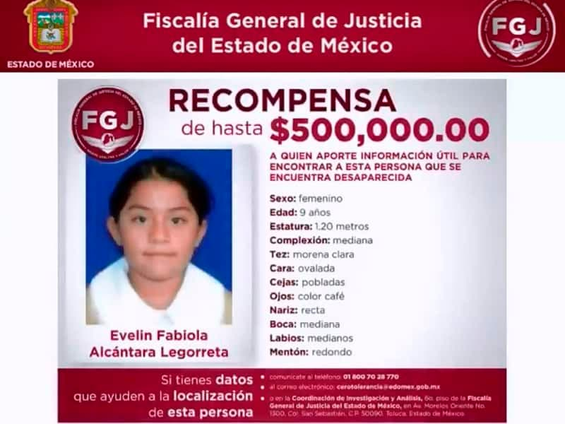 Fiscalía General del estado de México ofrece 500 mil pesos por información de Evelin