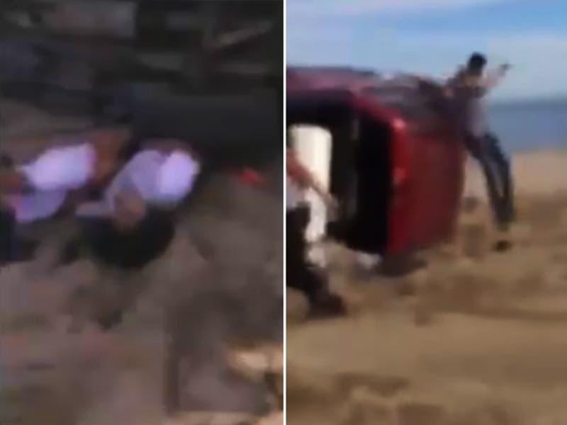 VÍDEO: Estudiantes vuelcan camioneta y compañera queda APLASTADA