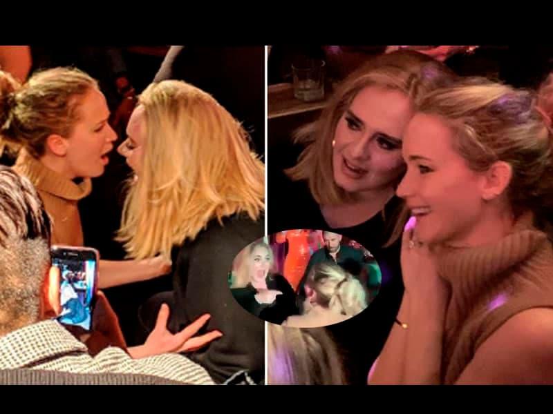 Fotos: Adele y Jennifer Lawrence se divierten en bar gay de Nueva York