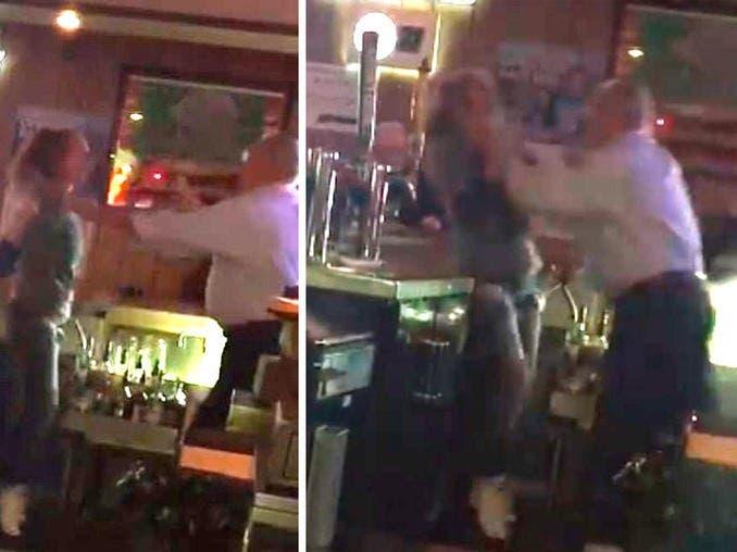 Vídeo: ¡Mal festejo del Día Internacional de la Mujer! Dueño de bar ahorca a mesera en acalorada discusión