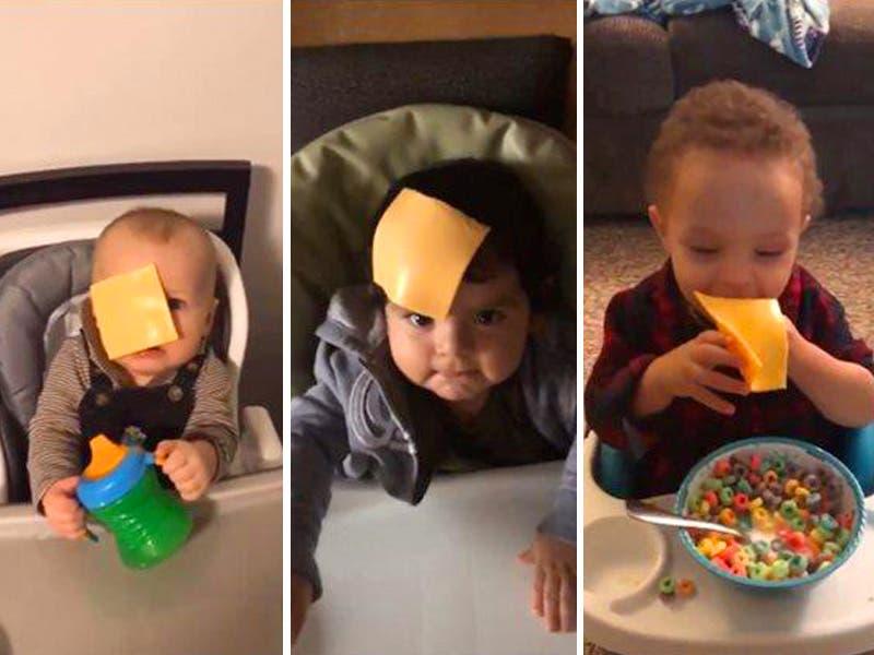 #Cheesechallenge reto viral donde avientan queso a bebés