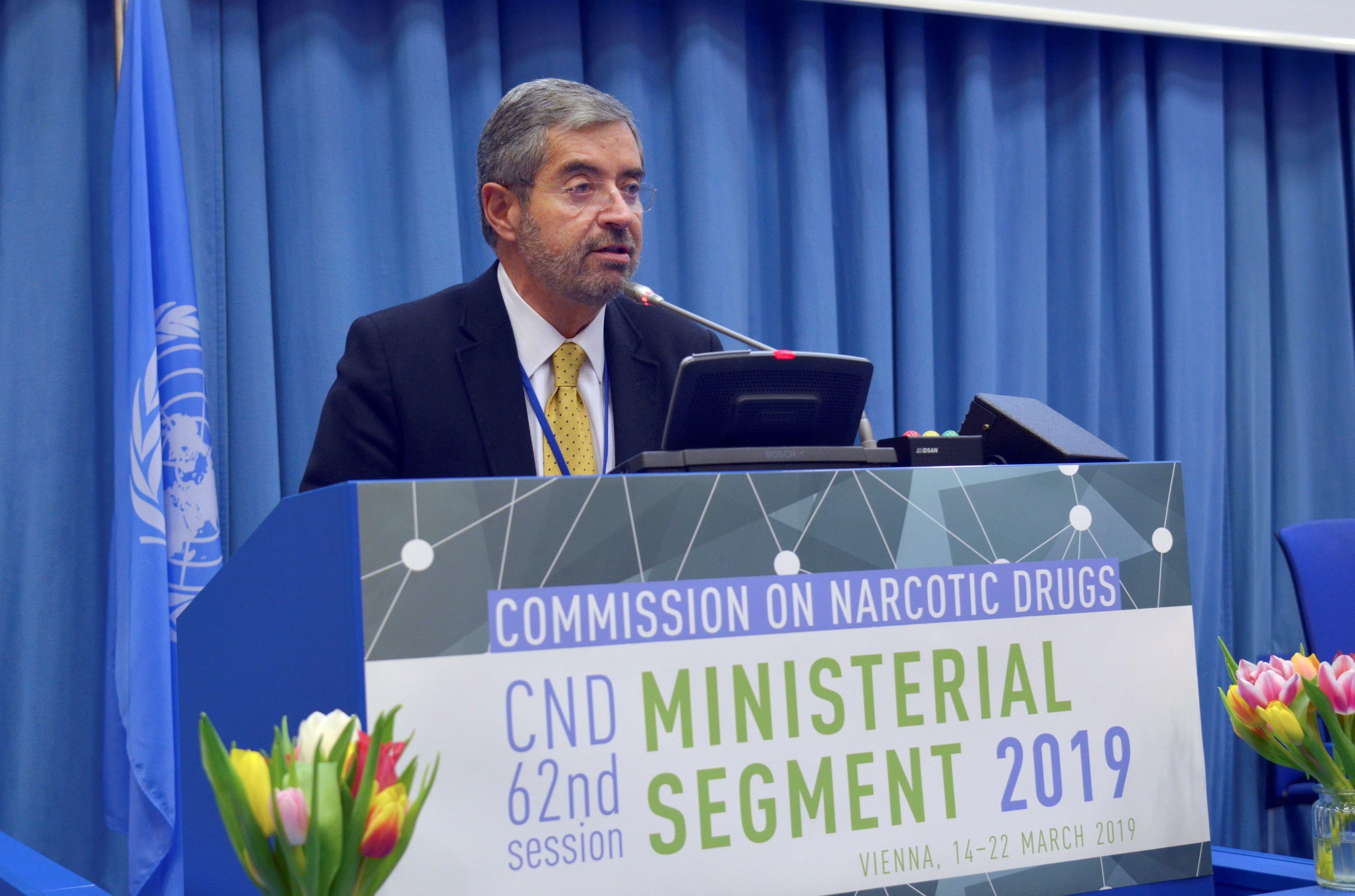 Juan Ramón de la Fuente, enviado especial en materia de drogas del presidente de México y representante permanente de su país ante la ONU en Nueva York, interviene en la Comisión de Narcóticos de la ONU en Viena.