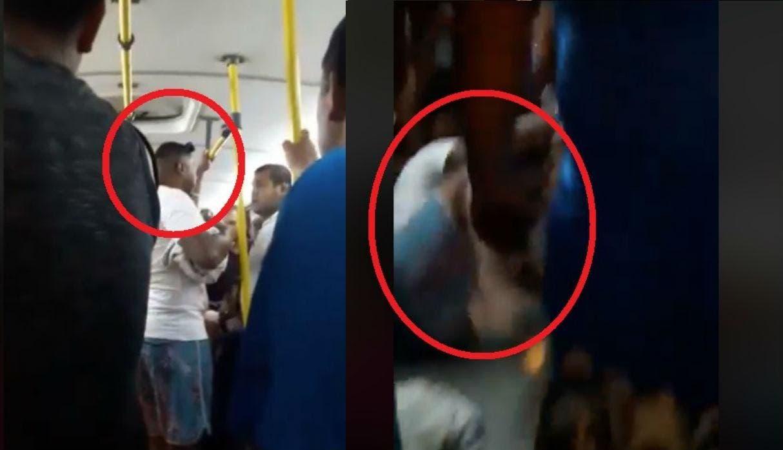"""Vídeo: Venezolano tunde a golpes a un sujeto peruano al llamarlo """"Indio"""" en un autobús"""