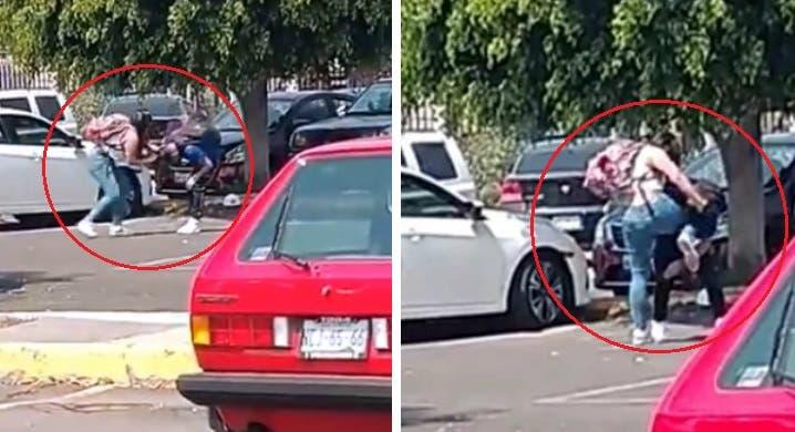 Vídeo: Chica le destroza la cara a rodillazos a Alumno en un estacionamiento de una escuela