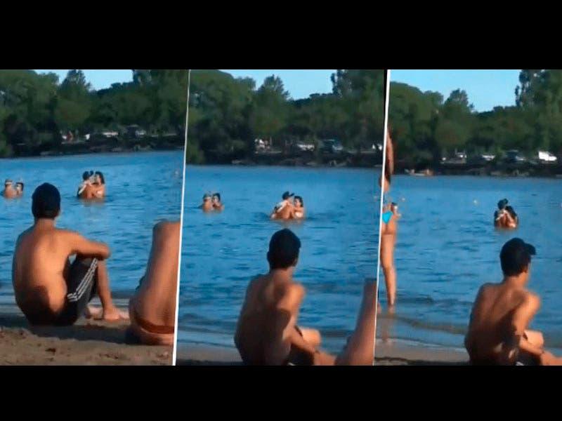 Vídeo: Cachan a pareja jugando en el agua ante la mirada de varios bañistas
