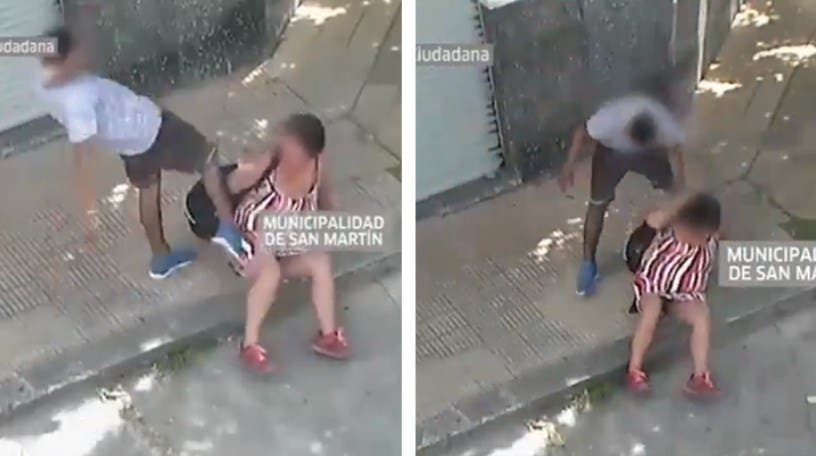 Vídeo: Sujeto patea a su pareja en la banqueta y mujer policía lo detiene