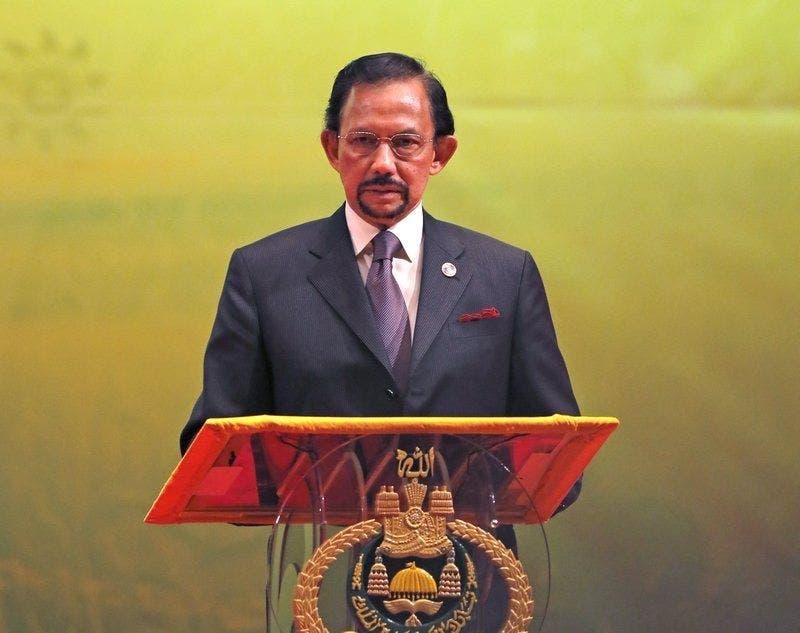 Hassanal Bolkiah en 2013, interviene durante la ceremonia de clausura y entrega de la presidencia de la ASEAN a Myanmar, en Bandar Seri Begawan.
