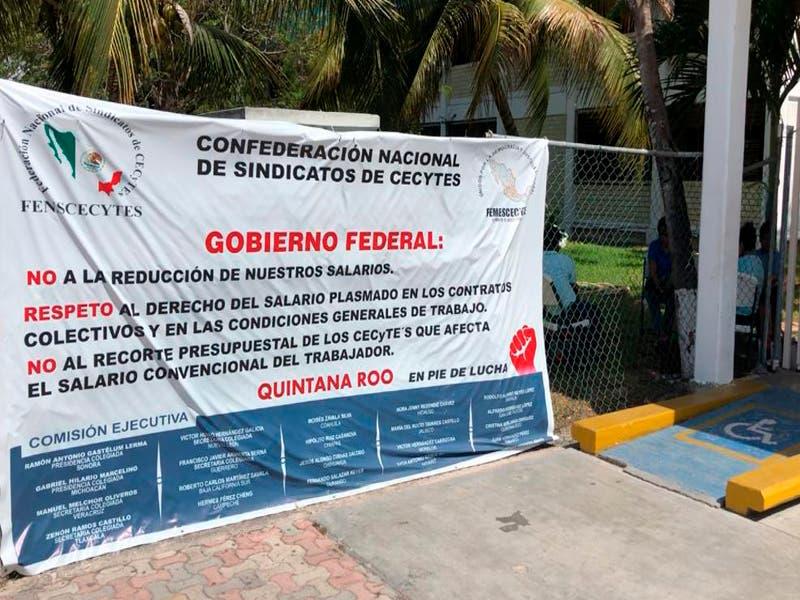 Profesores del Cecyte Playa del Carmen se suman al paro nacional indefinido