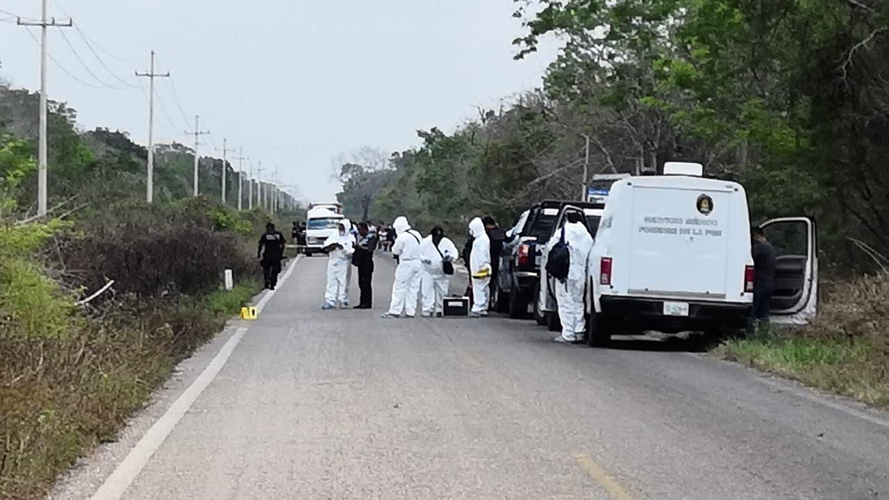 Tramo carretero donde asesinaron a las tres personas