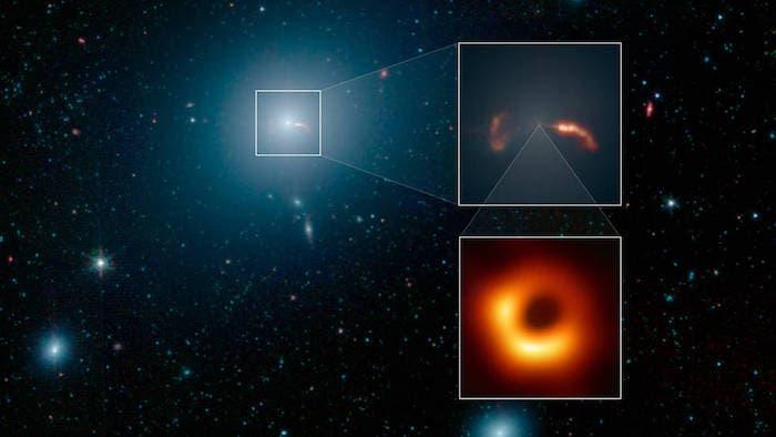 El recuadro superior muestra un primer plano de dos ondas de choque, creadas por un chorro que emana del agujero negro supermasivo de la galaxia. El Event Horizon Telescope tomó recientemente una imagen de cerca de la silueta de ese agujero negro, se muestra en el segundo recuadro. Foto: NASA