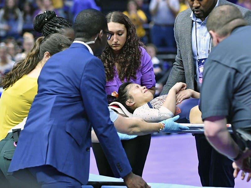 Samantha Cerio; la gimnasta que se lesionó las dos piernas en competencia