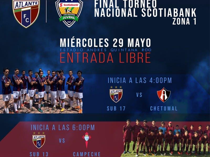 Estadio Andrés Quintana Roo albergará Final de Atlante Sub-13 y Sub-17