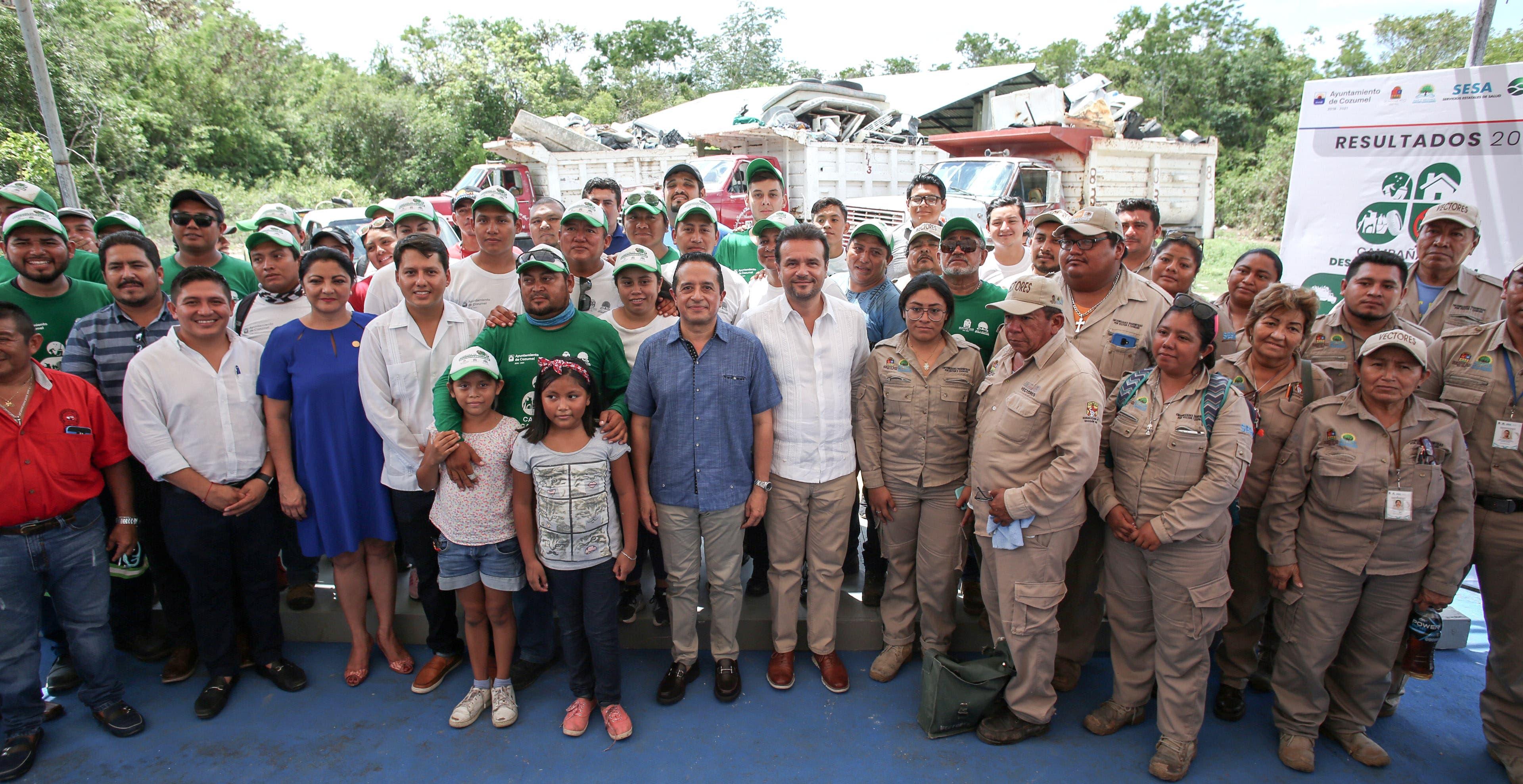 Cierran el Gobernador y el Presidente Municipal de Cozumel exitosa campaña de descacharrización