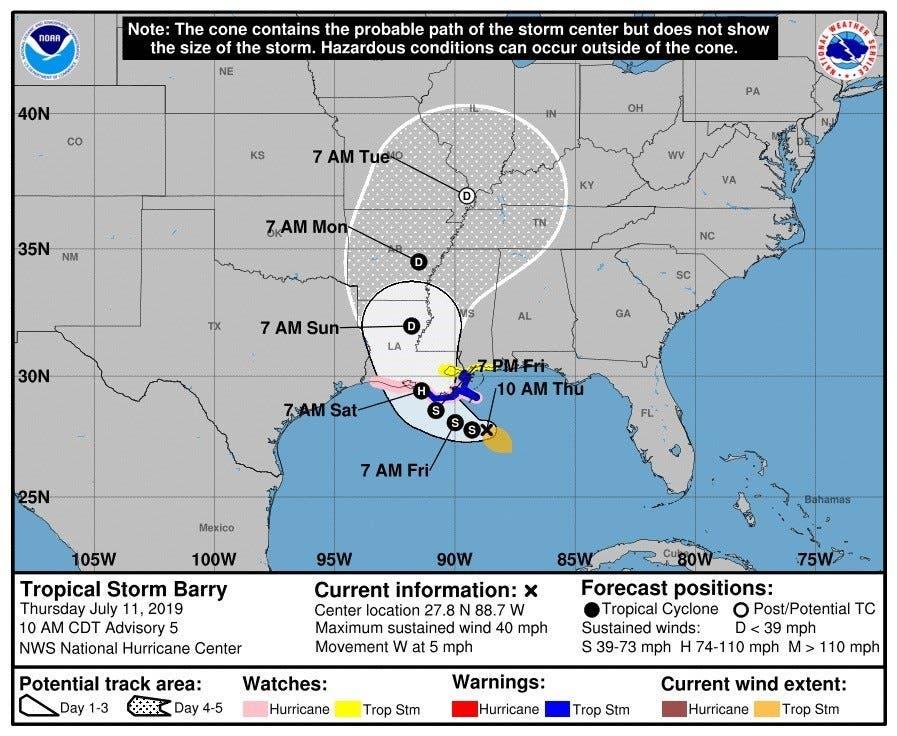 Previsión del Centro Nacional de Huracanes en Miami, Florida, Estados Unidos.