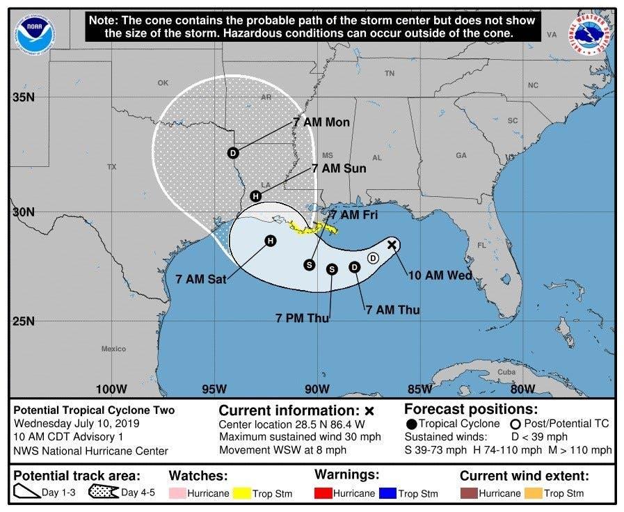 "Nace primer huracán en el Golfo de México; ""Barry"" va hacía EU"