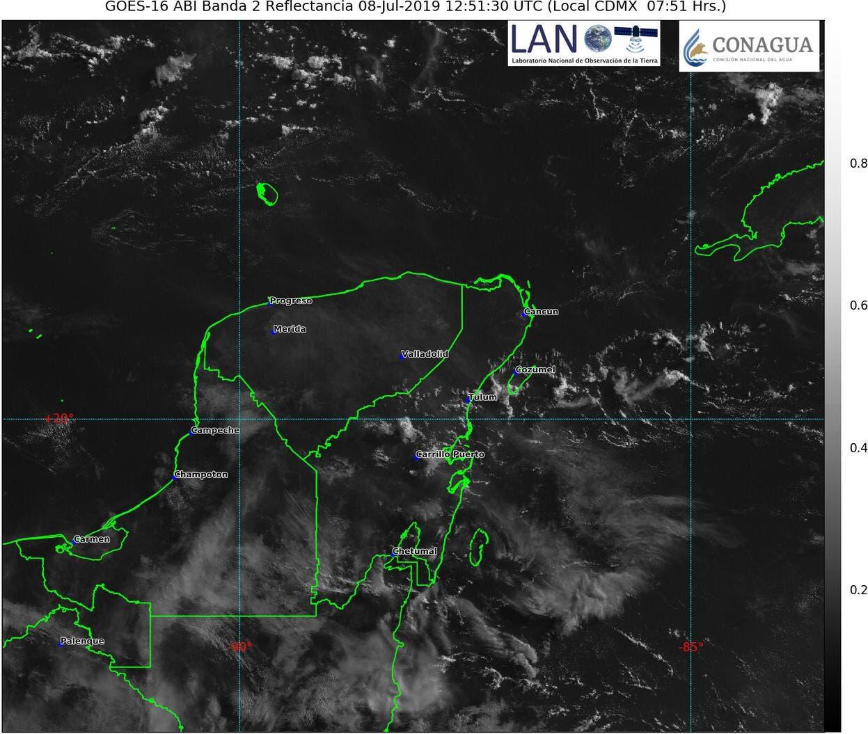 Para hoy lunes, el pronóstico del clima en Yucatán, estima temperaturas de calurosas a muy calurosas con lluvias por la tarde.