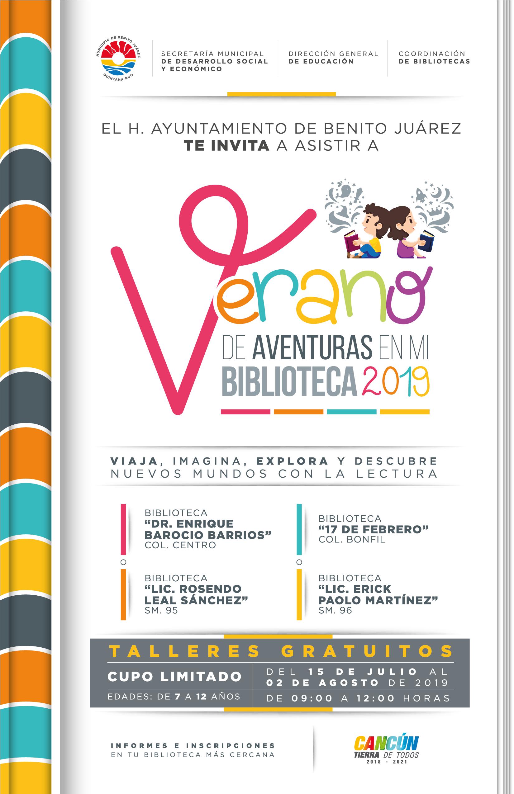 Cursos de verano en bibliotecas públicas de Benito Juárez