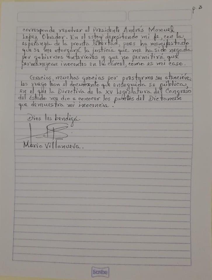 Confía Mario Villanueva en alcanzar la libertad; en su cumpleaños 71, el ex gobernador de Quintana Roo emite un mensaje escrito con su puño y letra.