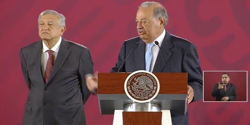 El Presidente de México, Andrés Manuel López Obrador y el empresario Carlos Slim.