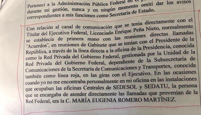 Documento de la defensa de Rosario Robles en el que vincula a el expresidente Peña Nieto y que el juez desestimó, por no presentar algún memorándum firmado de recibido por la oficina de la presidencia.