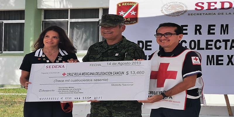 Batallón de Infantería dona 13 mil 460 pesos a la Cruz Roja de Cancún