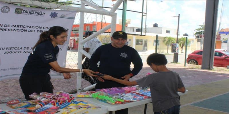 Intercambian pistolas de juguete por juegos tradicionales en Solidaridad