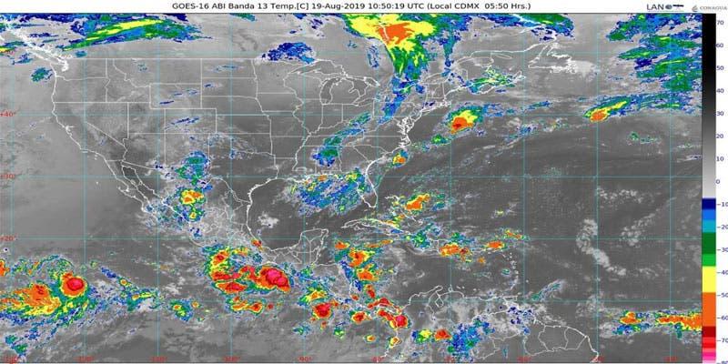 Clima: Se esperan lluvias para hoy en Quintana Roo; un canal de baja presión favorece la entrada de aire marítimo tropical y humedad hacia la Península.