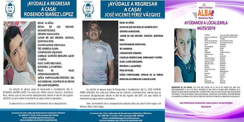 Desaparecen 11 personas en una semana en Quintana Roo; 8 de ellas en Cancún y llama la atención de FGE que todos son jóvenes y adultos en edad productiva.