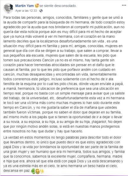 Tras el crimen de su hermana pide cuidarse a las mujeres de Cancún; emotivo mensaje de un hermano de la víctima, y se muestra preocupado por la violencia.