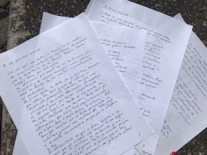 Carta de Rosario Robles distribuida a los medios de comunicación en la que exige se respete su proceso.