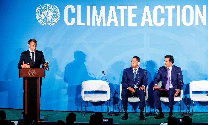Conferencia de Emmanuel Macron, presidente de Francia, en la Cumbre por el Cambio Climático en la ONU.