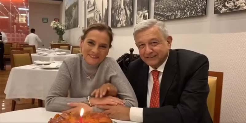 López Obrador festeja el cumpleaños de Beatriz Gutiérrez