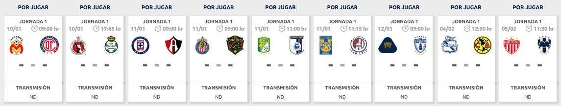 Liga MX | Calendrier des matchs: Journée 1, clôture 2020