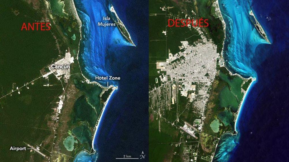 Imágenes de la NASA revelan erosión de la costa en crecimiento de Cancún
