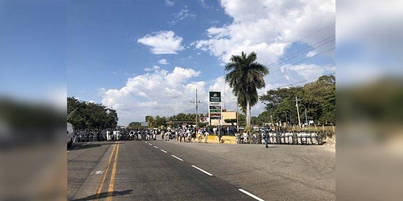 Guardia Nacional repliega a caravana migrante en Chiapas