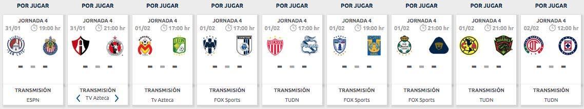Liga MX | Calendario de partidos: Jornada 4, Clausura 2020