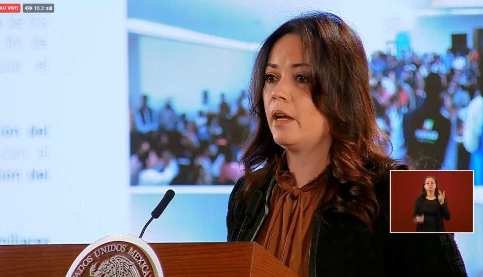 La subsecretaria de Gobernación, Diana Álvarez, durante su exposición en la mañanera de AMLO.
