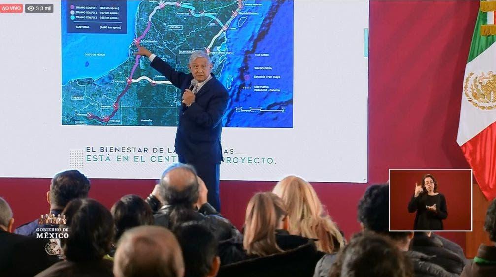 Detalla AMLO tramos a licitar para el Tren Maya.